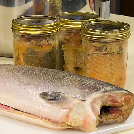 Salmon ready for canning in jars (Photo courtesy of University of Alaska Fairbanks Cooperative Extension Service)
