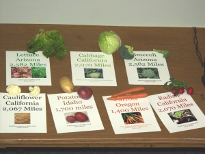 A display shows the typical mileages food needs to travel to get to Sitka stores. The mileages are for several vegetables that are easy to grow right here in Sitka.