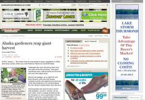 A screenshot from the Augusta Chronicle Web site showing a story and photo about the Sitka Farmers Market