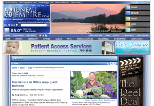 A screenshot of the Juneau Empire's Web site with the article about the Sitka Farmers Market
