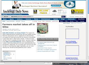 Screenshot of Anchorage Daily News' Alaska Newsreader blog mention of the Sitka Farmers Market