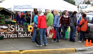 Shoppers look for deals at the first Sitka Farmers Market of the summer on July 18, 2009.