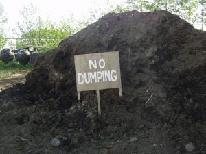 A mound of topsoil at Blatchley Community Gardens