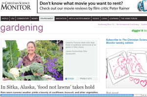 A screenshot of the Christian Science Monitor site showing the Sitka Local Foods Network story