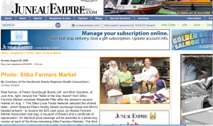 A screenshot of the Juneau Empire page showing the winners of the Table of the Day Award from the second Sitka Farmers Market on Aug. 1