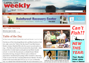 Capital City Weekly screenshot showing the Table of the Day Award winners from the second Sitka Farmers Market of the summer (Aug. 1)