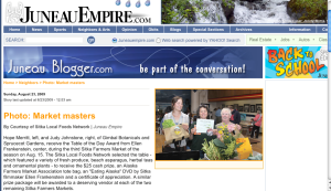 Screenshot from Sunday's Juneau Empire with the Table of the Day Award for Hope Merritt and Judy Johnstone at the third Sitka Farmers Market of the summer (Aug. 15).