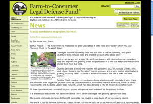 Screenshot from the Farm-To-Consumer Legal Defense Fund site with the Sitka Farmers Market story