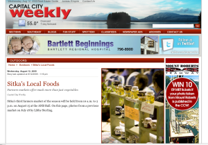 A screenshot from the Capital City Weekly photo package about Sitka's local foods from the first Sitka Farmers Market of the summer (July 18)