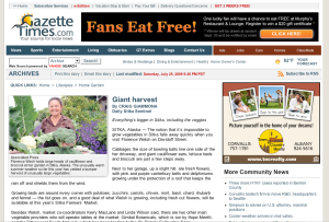 Screenshot of the Sitka Farmers Market article in the Gazette-Times of Corvallis, Ore.