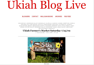 Screenshot of the Ukiah Blog Live site with a photo of Kerry MacLane and Linda Wilson holding the Sitka Farmers Market sign