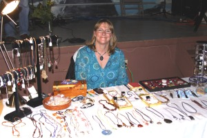 Sammee of Sammee's Creations shows off some of her beaded jewelry