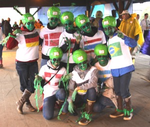 High school exchange students dressed as aliens won the best group costume category in the 2009 costume contest