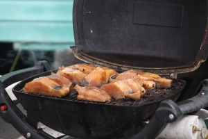 Black cod (aka sablefish) on the grill from the Alaska Longline Fisherman's Association booth at the Sitka Farmers Market
