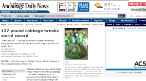 Screenshot of the Anchorage Daily News article on Steve Hubacek's giant cabbage