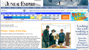 Screenshot of Sunday's Juneau Empire feature on the Sitka Farmers Market table of the day award
