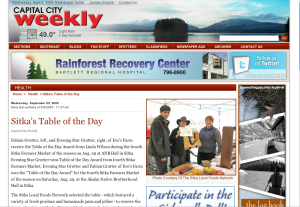 Screenshot of Capital City Weekly feature on Sitka Farmers Market Table of the Day Award winners