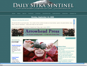 Daily Sitka Sentinel screenshot of Baranof Elementary School student picking potatoes
