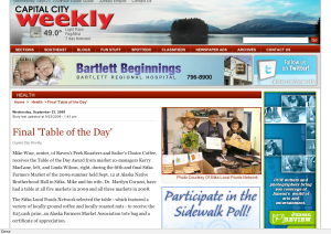 Screenshot of Capital City Weekly page about Mike Wise winning the Table of the Day Award at the final Sitka Farmers Market of the summer