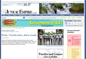 Screenshot from Tuesday's Juneau Empire featuring the aliens photo from the Running of the Boots