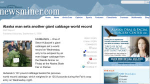 Screenshot of the giant cabbage story in the Fairbanks Daily News-Miner