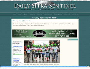 Screenshot of the Daily Sitka Sentinel site on Monday with the aliens photo from the 2009 Running of the Boots