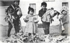 Children show off the bounty from the Klukwan School garden in 1911