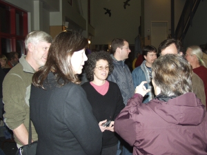 "Sitka filmmaker Ellen Frankenstein, center, of Frankenstein Productions, greets fans after the Sitka premiere of her film ""Eating Alaska"" in October 2008"