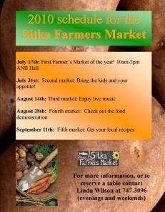 2010 Sitka Farmers Market schedule