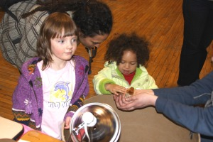 Young girls check out a baby chick at the 2010 Let's Grow Sitka event. Andrew Thoms will have egg-producing chicks and information about how to raise them available this year, but he suggests anybody wanting to buy chicks contact him as soon as possible so he can start incubating the eggs. He can be reached at 747-3747 or andrew@sitkawild.org.