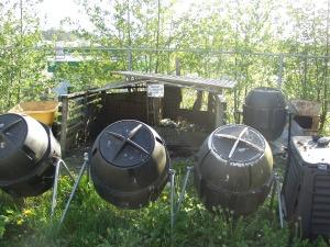 Compost bins at Blatchley Community Garden