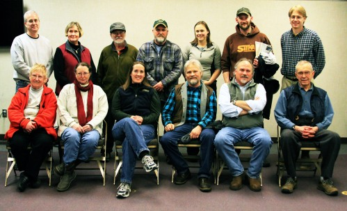 Sitka residents interested in building a Sitka Community Greenhouse and Education Center pose with Shane Smith of the Cheyenne, Wyo., Botanic Gardens (front row, second from right) after he spoke at a March 12, 2013, meeting about the greenhouse.