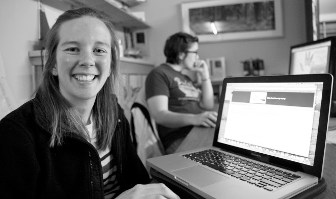 Courtney Bobsin, a Jesuit Volunteer with the Sitka Conservation Society who is helping the Sitka Community Food Assessment collect data, has her computer logged in and ready to take the survey. (Daily Sitka Sentinel photo by James Poulson, used with permission)