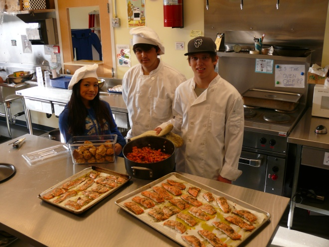 Pacific High School student chefs (from left) Allana Carlos, Walter Borbridge, and Justin Tucker