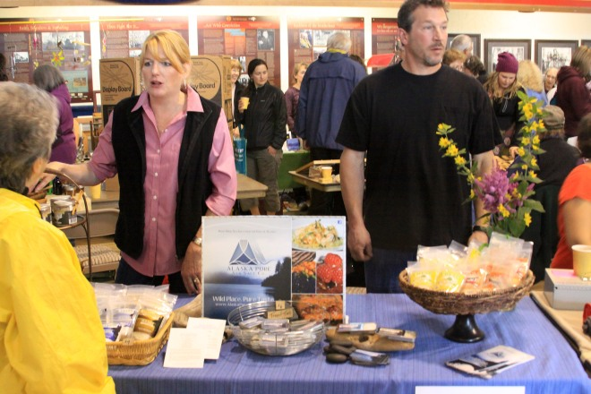 Darcy and Jim Michener of Alaska Pure Sea Salt discuss their product with customers at the Sitka Farmers Market.