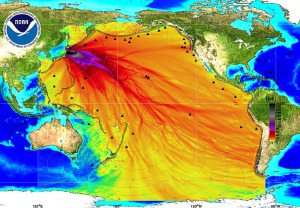 This NOAA map has been showing up on social media posts with a note that it shows the path of 300 tons of radioactive material entering the ocean each day. This map really shows the probable tsunami paths from the 2011 Tohoku earthquake.