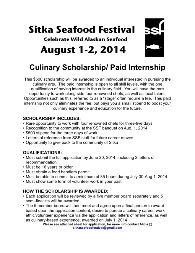 culinary scholarship description