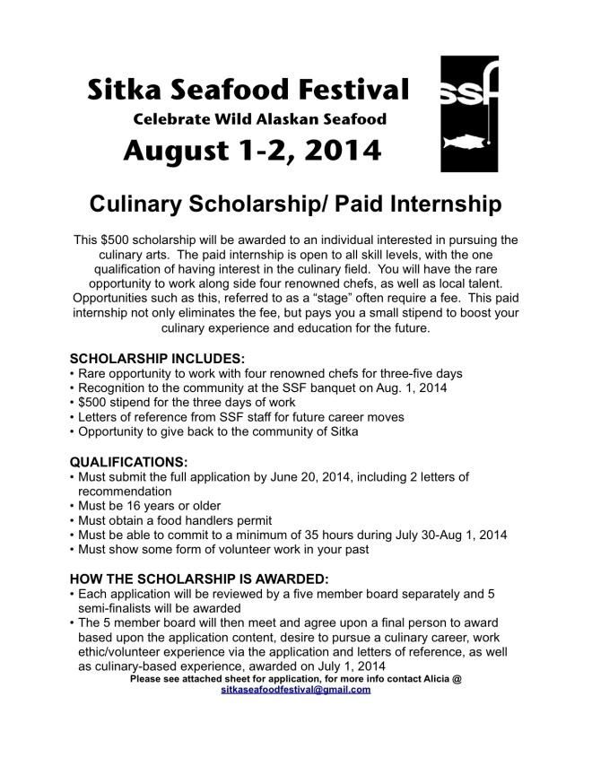 culinary scholarship description