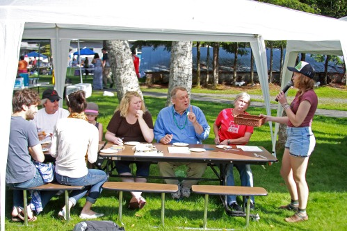 Members of the panel of judges sample one of the recipes in the Fish To Schools Recipe Contest at the Sitka Seafood Festival on Saturday, Aug. 2, 2014, at the Sheldon Jackson Campus/Sitka Fine Arts Camp.