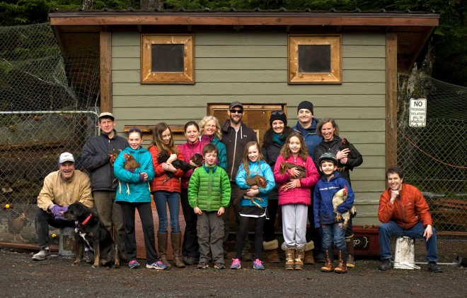 Some of the members of Le Coop, one of Sitka's chicken coop co-ops, pose with a few of their birds. (Daily Sitka Sentinel Photo by James Poulson, other photos in story are by Charles Bingham)