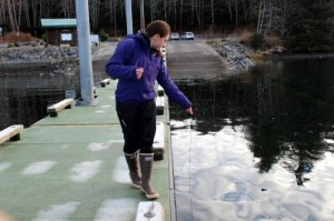 Esther Kennedy of the Sitka Tribe of Alaska Resource Protection Department samples water near the Starrigavan Recreation Area dock for marine biotoxins such as paralytic shellfish poisoning. (Photos by Emily Kwong, KCAW-Raven Radio)