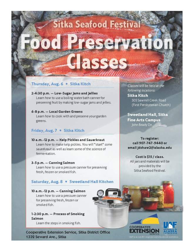 Sitka food preservation classes
