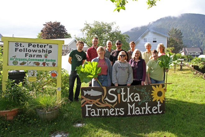 PHOTO COURTESY OF SITKA LOCAL FOODS NETWORK Sitka Local Foods Network board members and supporters pose at the St. Peter's Fellowship Farm communal garden on Monday. St. Peter's Fellowship Farm supplies most of the local produce sold at the Sitka Farmers Markets during the summer. The first Sitka Farmers Market of the season is from 10 a.m. to 1 p.m. on Saturday, July 4, at the Alaska Native Brotherhood Founders Hall, 235 Katlian St. The other five Sitka Farmers Market dates are July 18, Aug. 1, Aug. 15, Aug. 29, and Sept. 12. Pictured are, front row from left, Michelle Putz, Muriel Sadleir-Hart, Lisa Sadleir-Hart, and Kathy Jones. Back row, Matthew Jackson, Jonathan Adler, Peter Gorman, Jud Kirkness, Brandie Cheatham, Mary Therese Thomson, and Laura Schmidt.