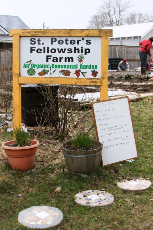 A to-do list of chores at the St. Peter's Fellowship Farm communal garden