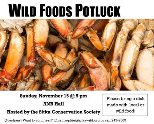 Wild foods potluck poster 2015 - CRAB