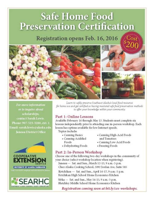 Food preservation certificate flier