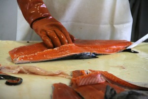 CloseUpOfSalmonFilleting