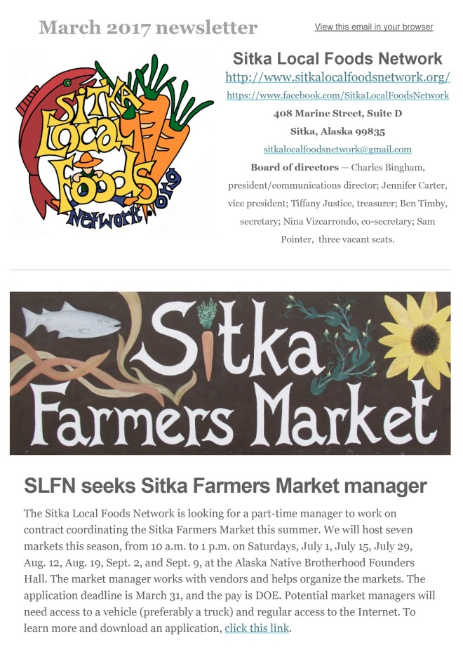 Monthly Newsletter – Sitka Local Foods Network
