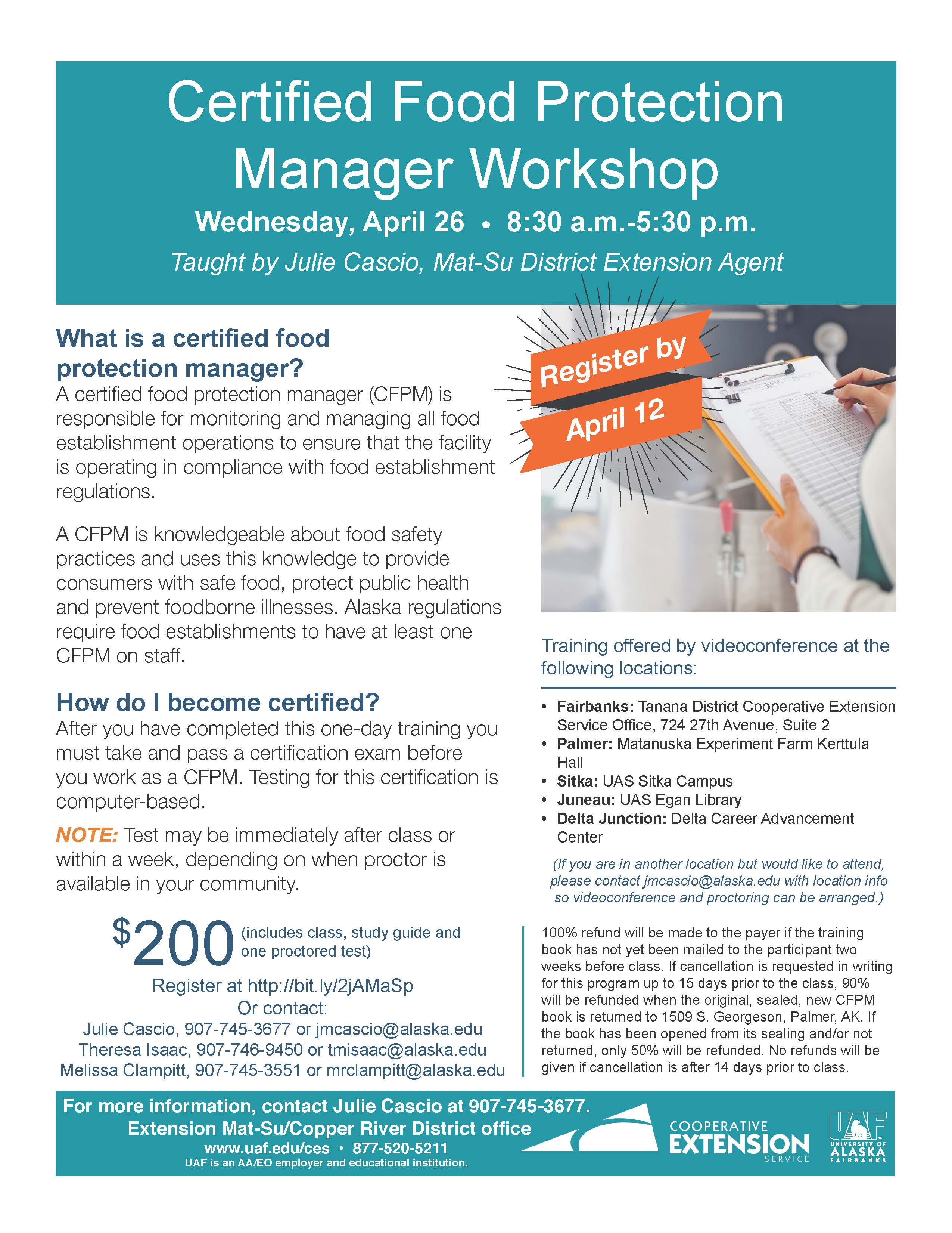 Uaf cooperative extension service offers certified food protection uaf cooperative extension service offers certified food protection manager class by videoconference april 26 in sitka sitka local foods network xflitez Gallery