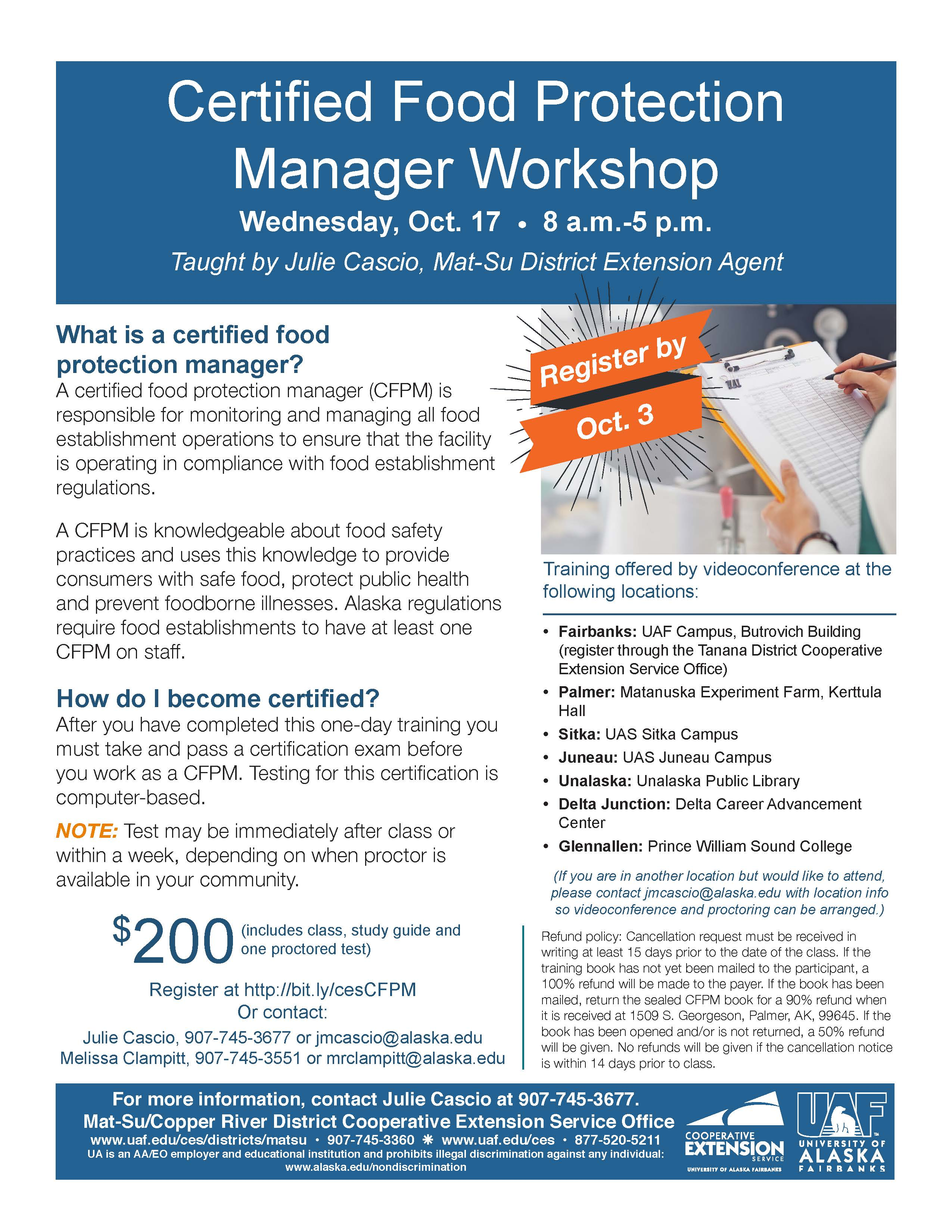 UAF Cooperative Extension Service offers Certified Food Protection Manager  class by videoconference Oct. 17 in Sitka – Sitka Local Foods Network